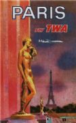 Vintage Travel Poster Paris fly TWA.